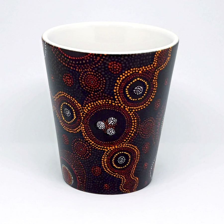 Latte mug featuring atoms on the surface of a metal, in the style of Aboriginal art. Highly creative and unique design, imaged with field ion microscopy, projected onto canvas and oil-painted by hand. Credit: Emmanuelle Marquis, Dave Larson & Tom Kelly