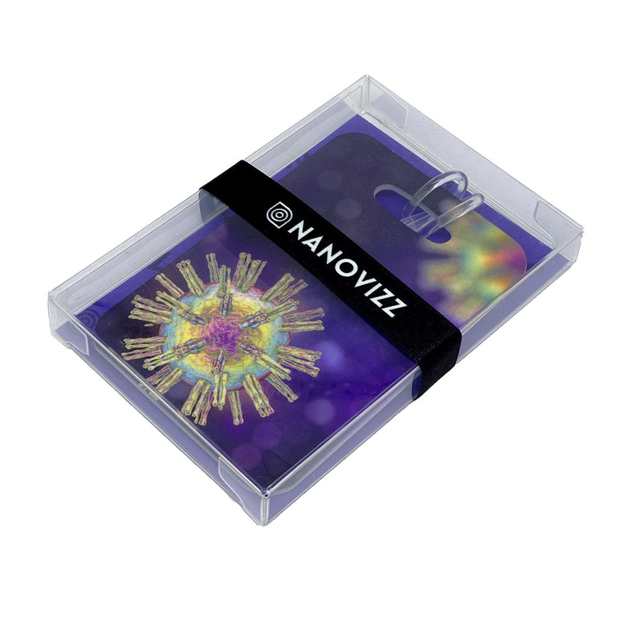 Bag tag featuring a computer graphic showing the shape of a virus as it would look in a microscope. The virus in this case is called herpes simplex, which is common throughout the world