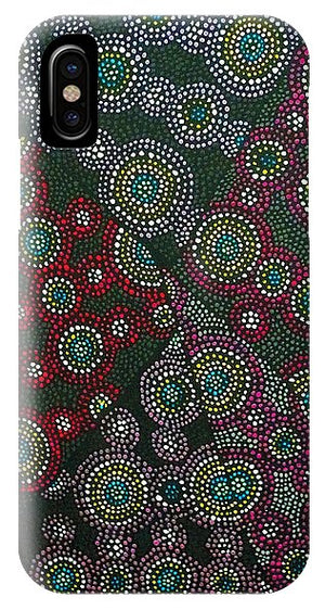 iPhone and Galaxy phone cases featuring atoms on the surface of a metal, in the style of Aboriginal art. This highly creative and unique design was imaged using field ion microscopy. The image was then projected onto canvas and each dot oil-painted by hand. Credit: Emmanuelle Marquis, Dave Larson & Tom Kelly
