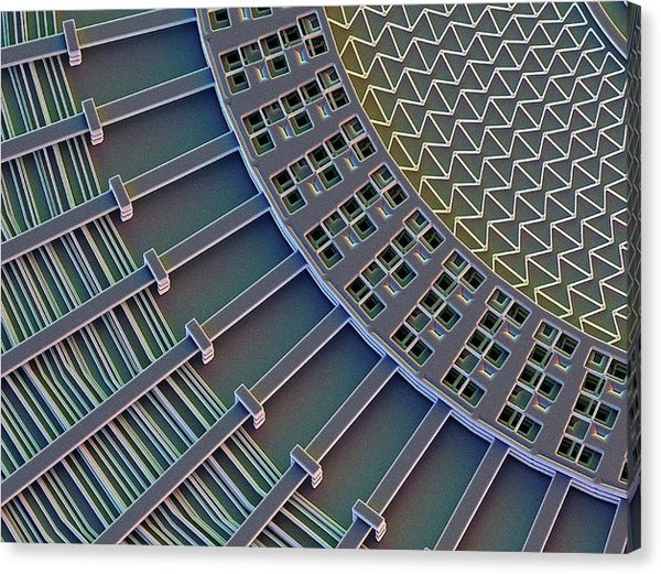 Canvas print featuring the surface of a microelectromechanical systems (MEMS) electrostatic sail, or radial motion actuator. Imaged with scanning electron microscopy (SEM). Credit: David Scharf/SPL
