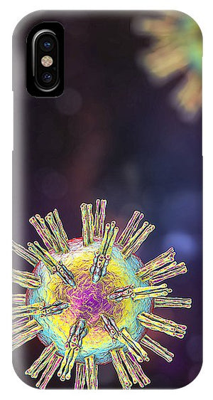 iPhone and Galaxy phone cases featuring a computer graphic showing the shape of a virus as it would look in a microscope. The virus in this case is called herpes simplex, which is common throughout the world