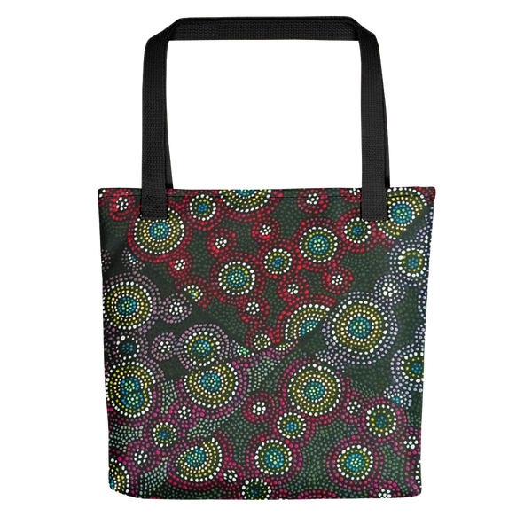 Tote bag featuring atoms on the surface of a metal, in the style of Aboriginal art. This highly creative and unique design was imaged using field ion microscopy. The image was then projected onto canvas and each dot oil-painted by hand. Credit: Emmanuelle Marquis, Dave Larson & Tom Kelly