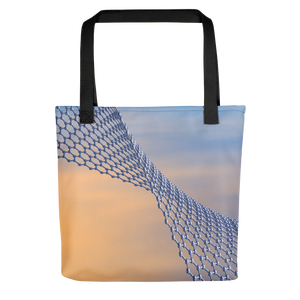 Tote bag featuring a graphene sheet, computerized graphic. Graphene consists of a single layer of carbon atoms arranged in a hexagonal lattice, and has many remarkable properties such as a high strength-to-weight ratio and  electrical conductivity