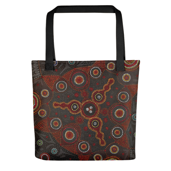 Tote bag featuring atoms on the surface of a metal, in the style of Aboriginal art. Highly creative and unique design, imaged with field ion microscopy, projected onto canvas and oil-painted by hand. Credit: Emmanuelle Marquis, Dave Larson & Tom Kelly