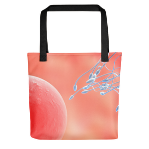 Tote bag featuring a computer graphic of sperm and egg cells, similar to how they look in a microscope