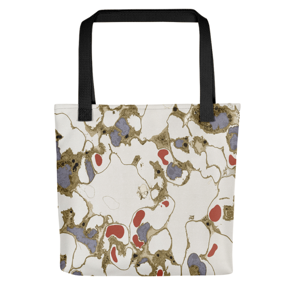 Tote bag featuring lung tissue with red blood cells and alveoli. Gas is exchanged via alveoli in the lungs, where oxygen is taken up by red blood cells and carbon dioxide released for exhalation out of the body. Imaged using transmission electron microscopy (TEM)