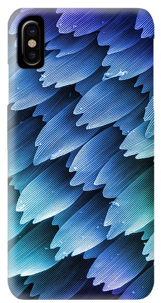 iPhone and Galaxy phone cases featuring scales on the wing of a butterfly. The color of a butterfly wing comes either from a pigment contained in the scales or from iridescence as light is diffracted by the microscopic structure of the scales themselves. Imaged with scanning electron microscopy (SEM)