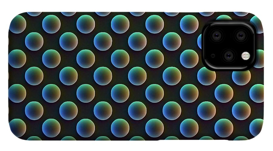Phone case featuring an array of individual picture elements of a charge-coupled device (CCD). Imaged with scanning electron microscopy (SEM). Credit: David Scharf/SPL