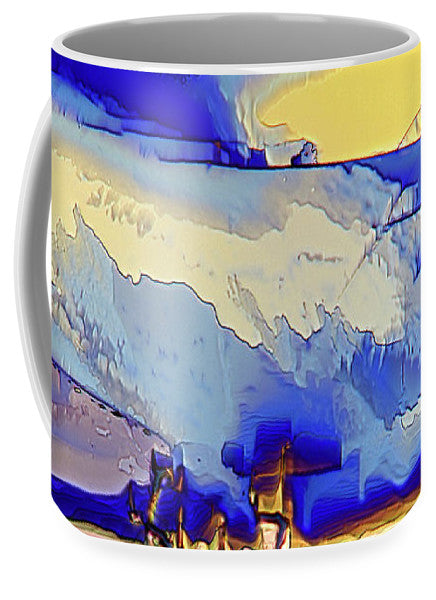 Ceramic mug featuring crystals of vitamin C (ascorbic acid), an essential vitamin found in fruit and green vegetables and is needed for the growth and maintenance of bones, teeth, skin and blood vessels. Imaged using polarized light microscopy