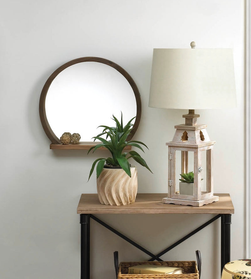 Round Wooden Mirror With Shelf - InStyle Walls LLC
