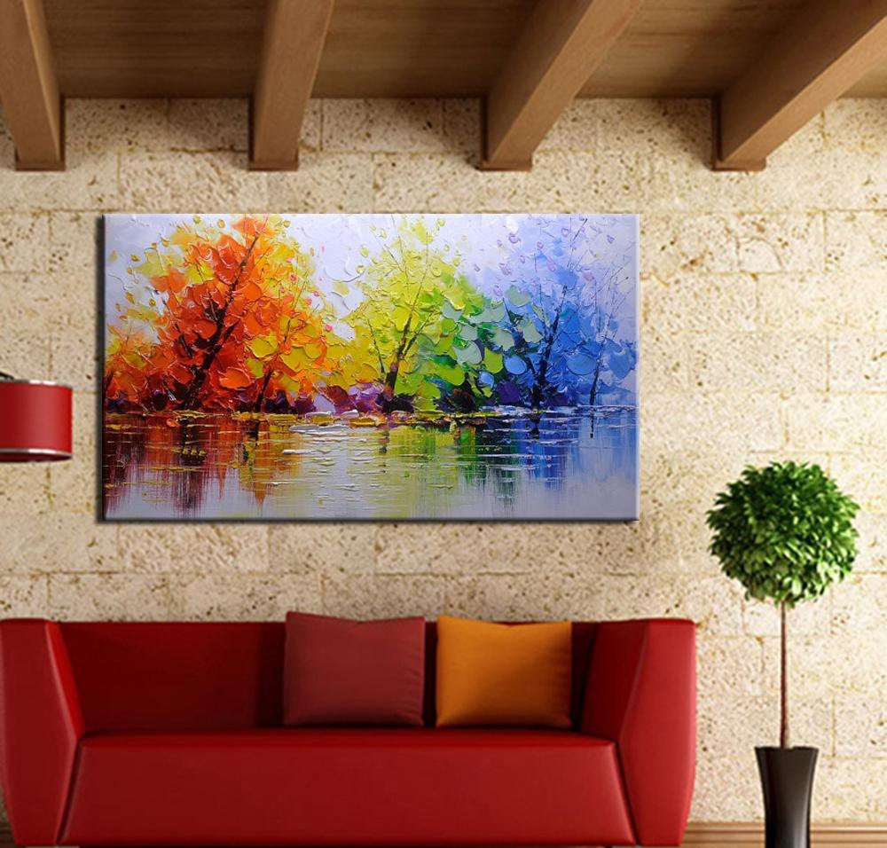 Color Tree Knife Modern Oil Painting - InStyle Walls LLC