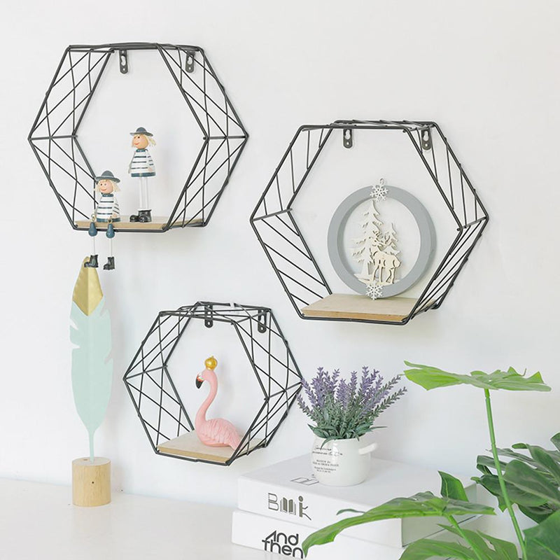 Iron Hexagonal Grid Wall Shelf Combination - InStyle Walls LLC
