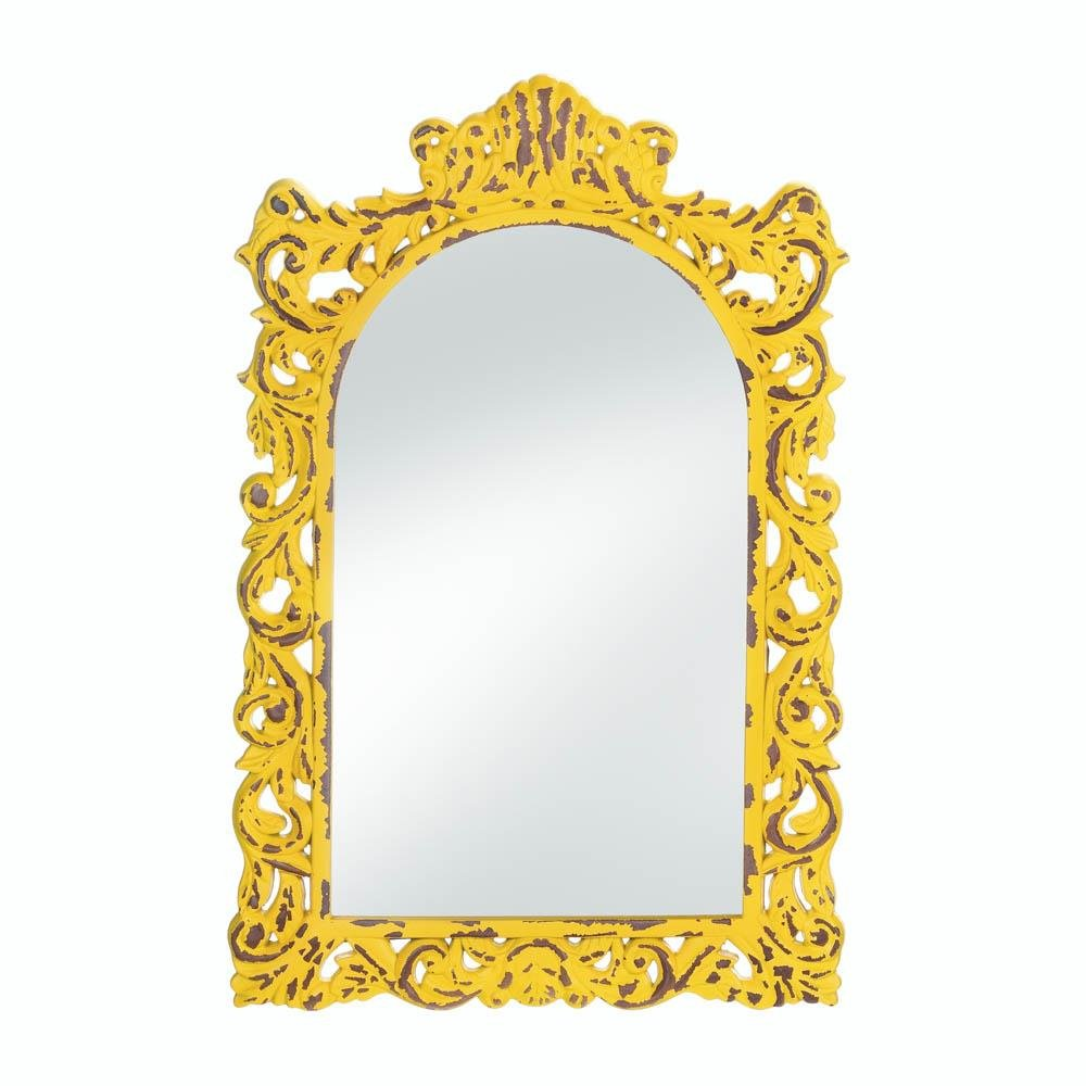 Rustic Opulent Yellow Wall Mirror