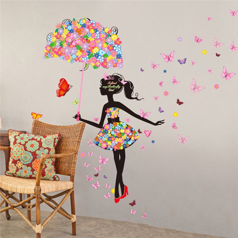 Fairy Flower Girl Wall Decal - InStyle Walls LLC