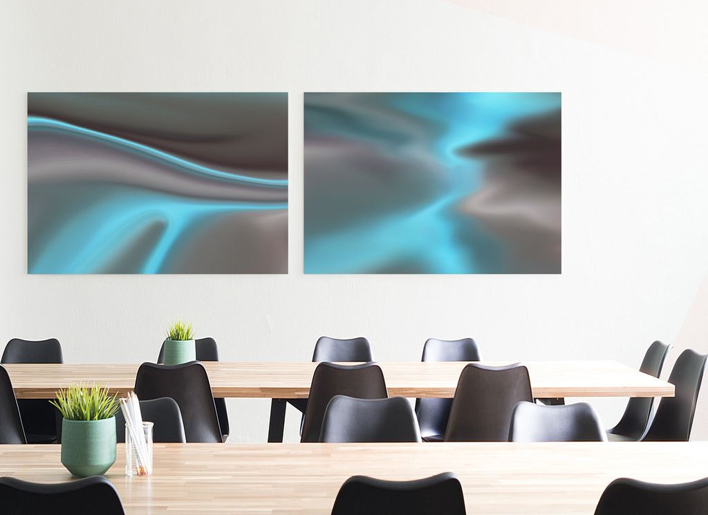 Teal Clouds II Canvas Poster - InStyle Walls LLC