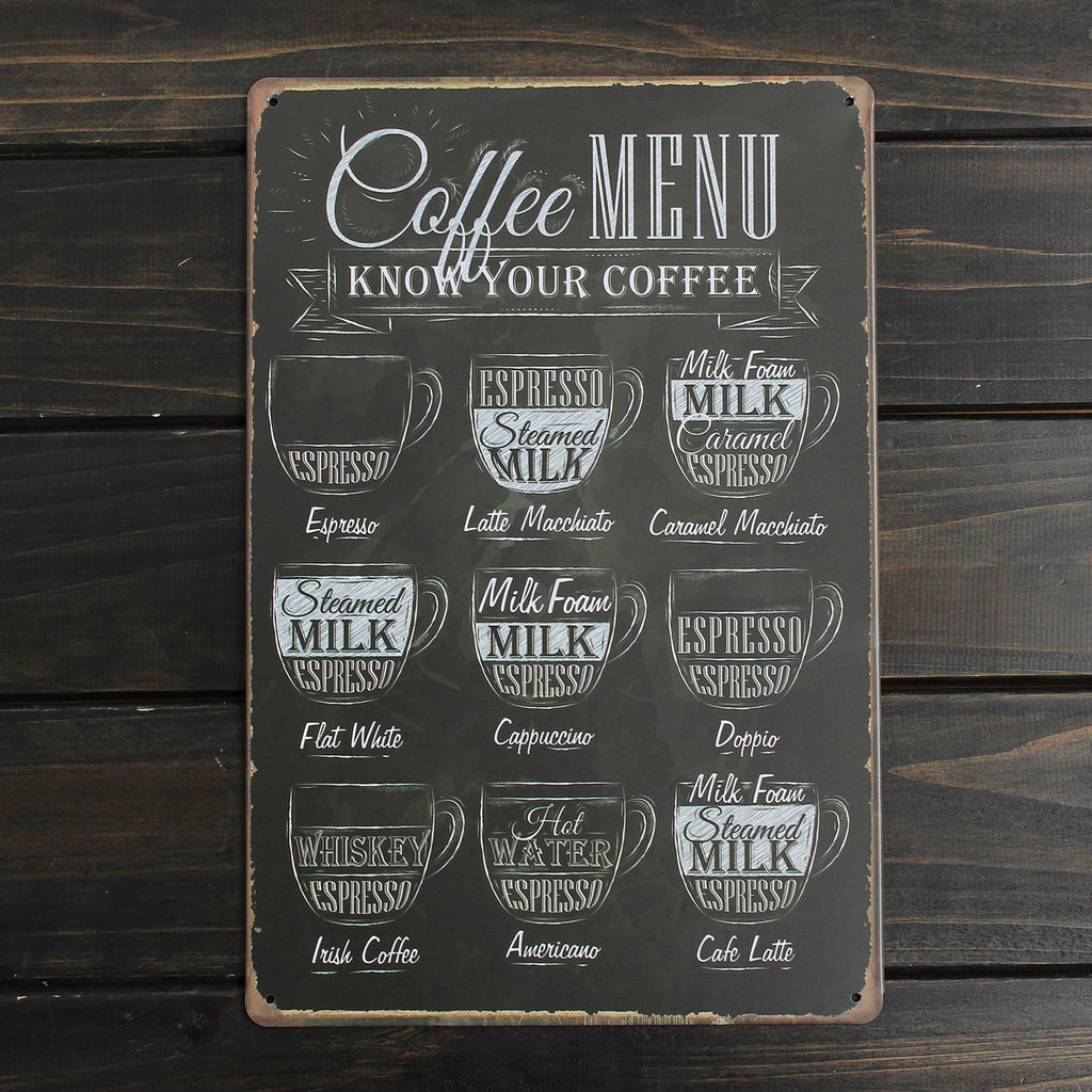 Coffee Menu Metal Sign - InStyle Walls LLC