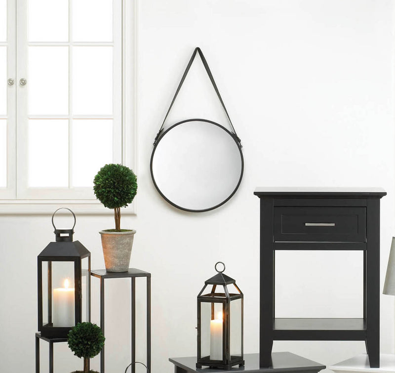 Hanging Mirror With Faux Leather Strap - InStyle Walls LLC
