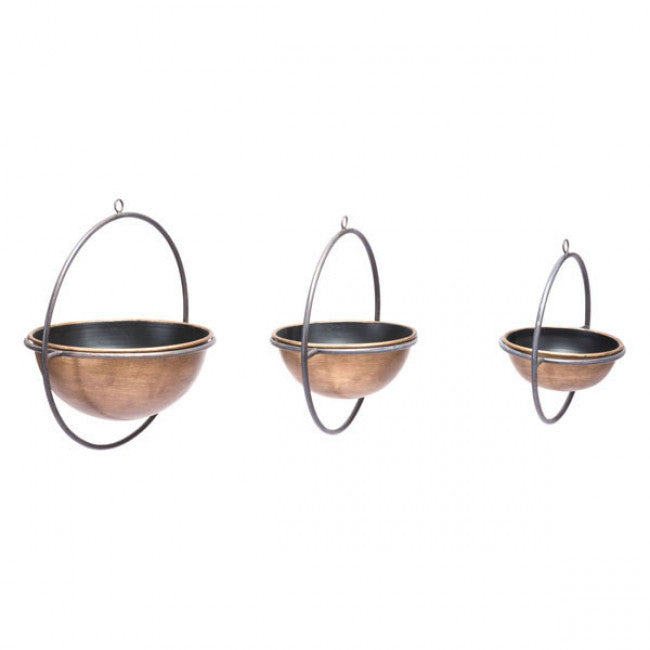 Set Of 3 Metal Vases Antique - InStyle Walls LLC