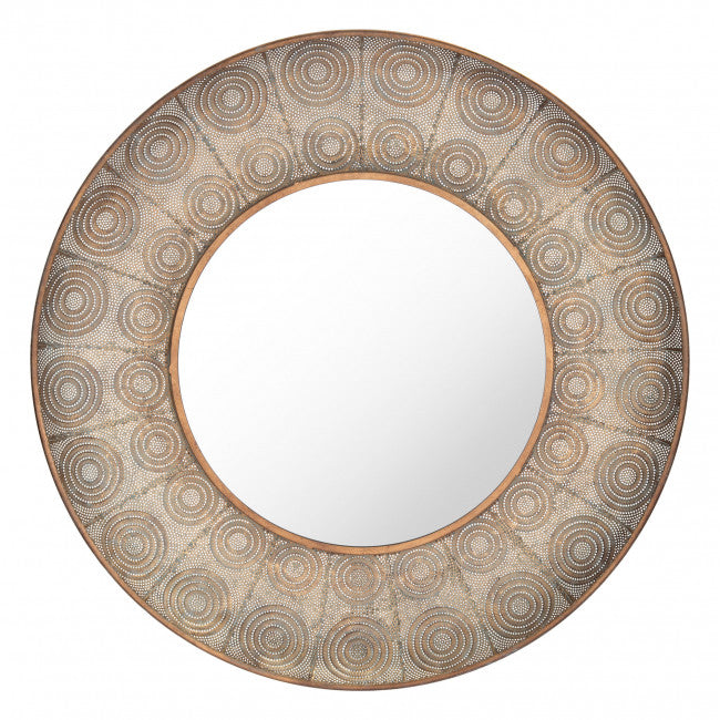 Avila Large Round Mirror Antique Gold - InStyle Walls LLC