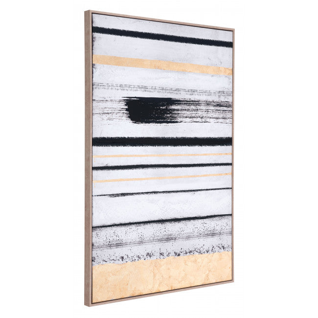 Vertical Brush Strokes Canvas Black & Gold - InStyle Walls LLC