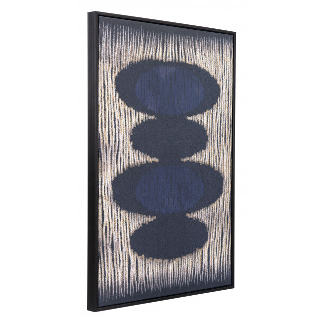 Vertical Brush Strokes Canvas Black & Gold