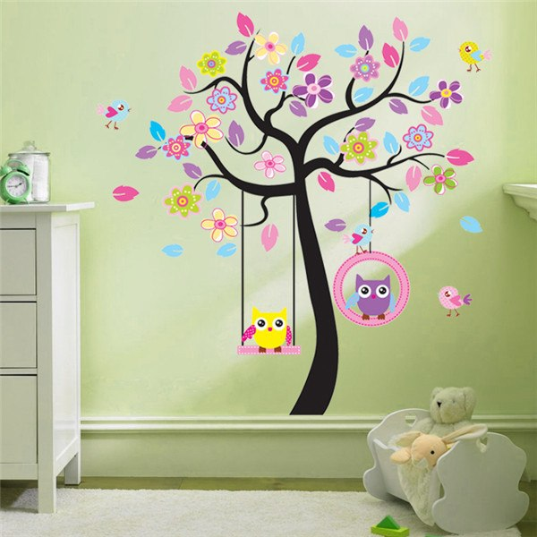 Cartoon Tree and Owls Wall Stickers - InStyle Walls LLC