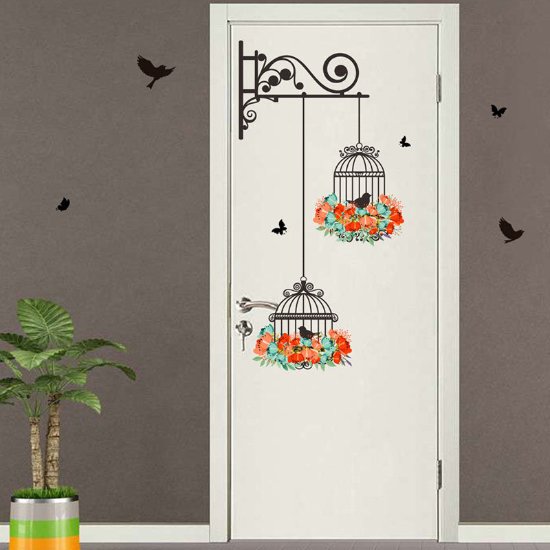Birdcage Flower Flying Wall Stickers - InStyle Walls LLC