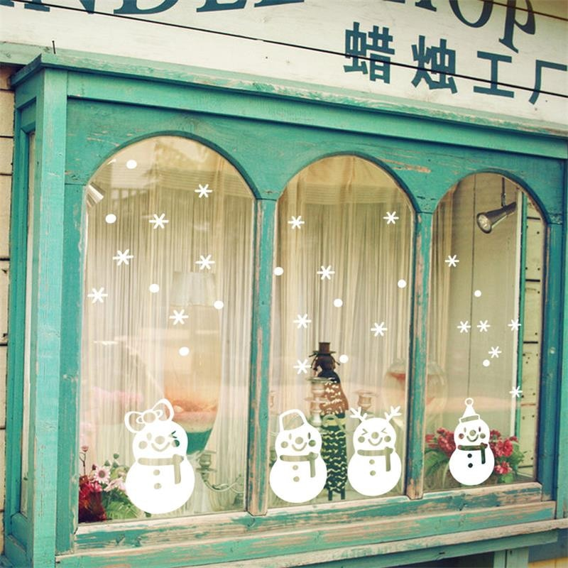 Christmas cute snowmen window stickers - InStyle Walls LLC