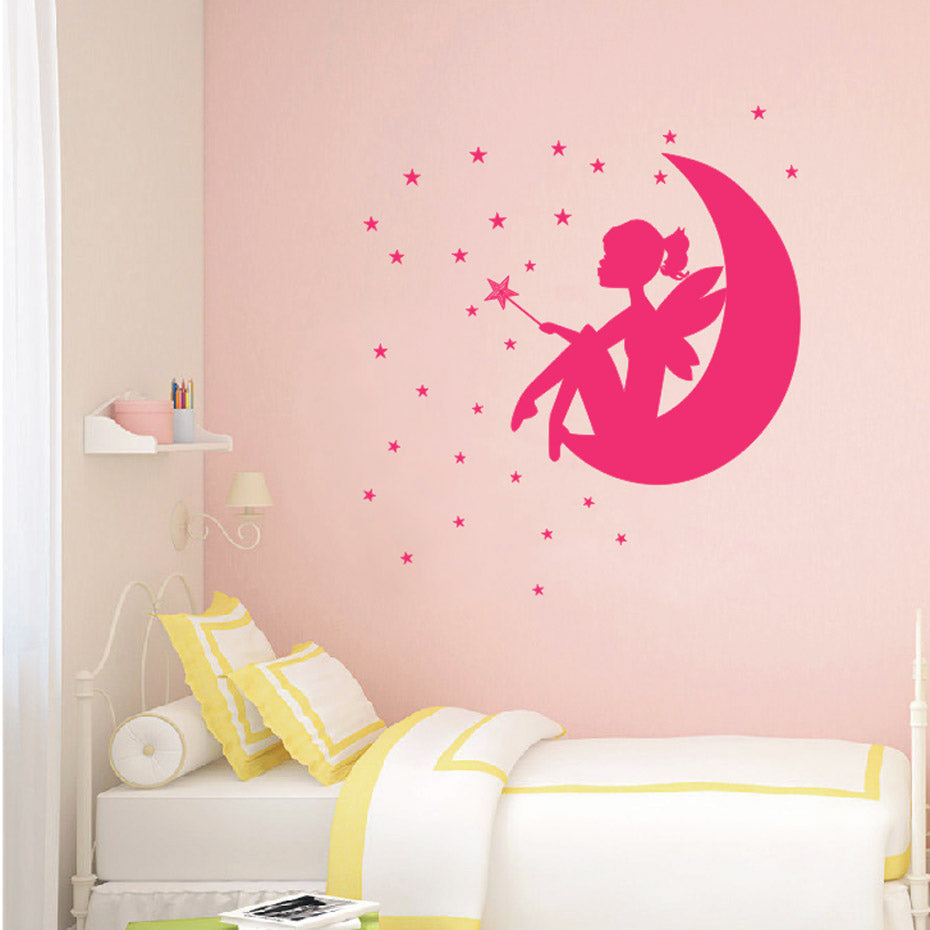 Fairy Little Girl on The Moon and Stars Wall Decals - InStyle Walls LLC