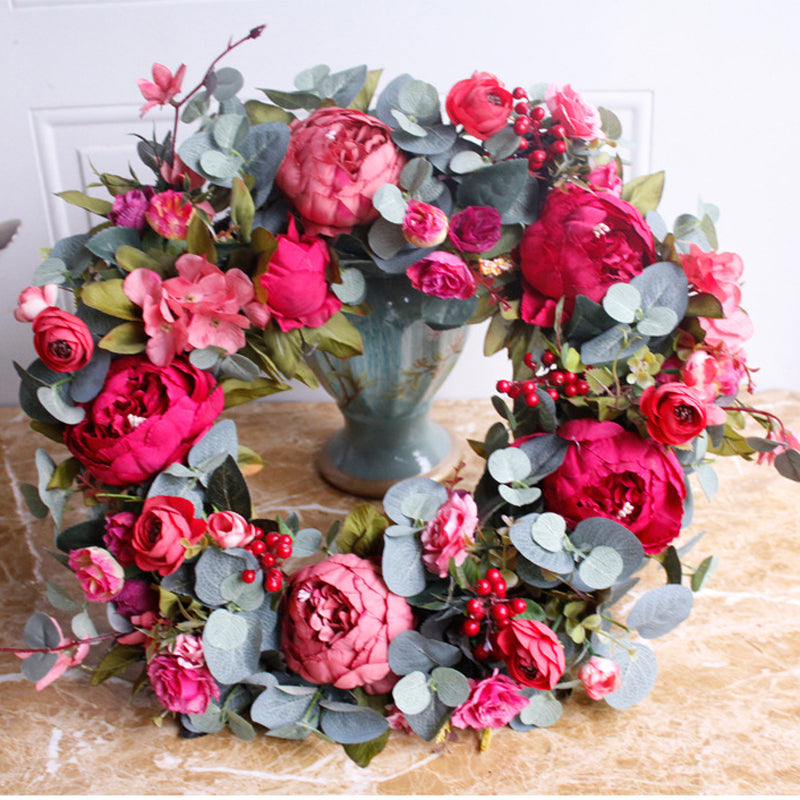 Autumn Peony Christmas Wreath Wall Hanging - InStyle Walls LLC