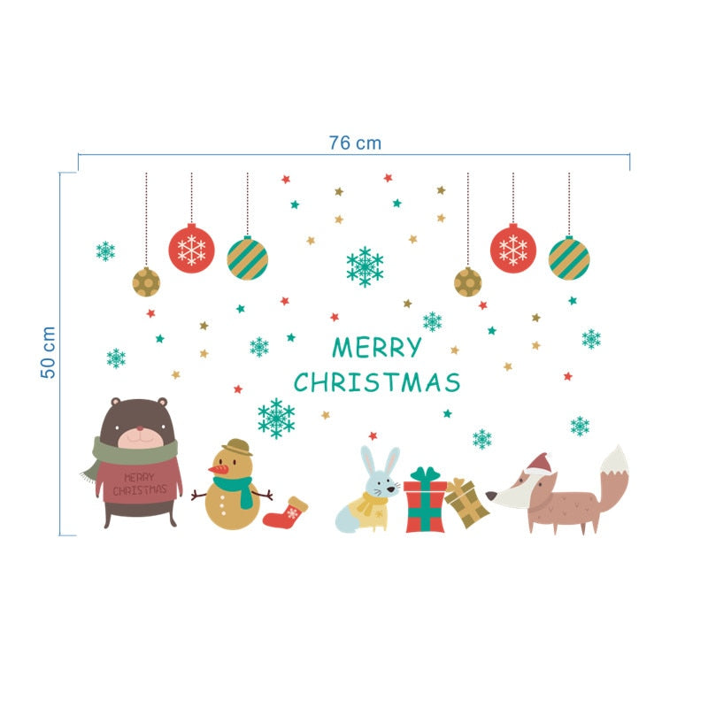 Merry Christmas Snowflake Animals Wall Stickers - InStyle Walls LLC