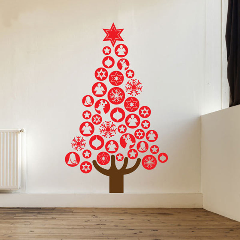 Happy Holiday Baubles Christmas Tree Wall Decal - InStyle Walls LLC