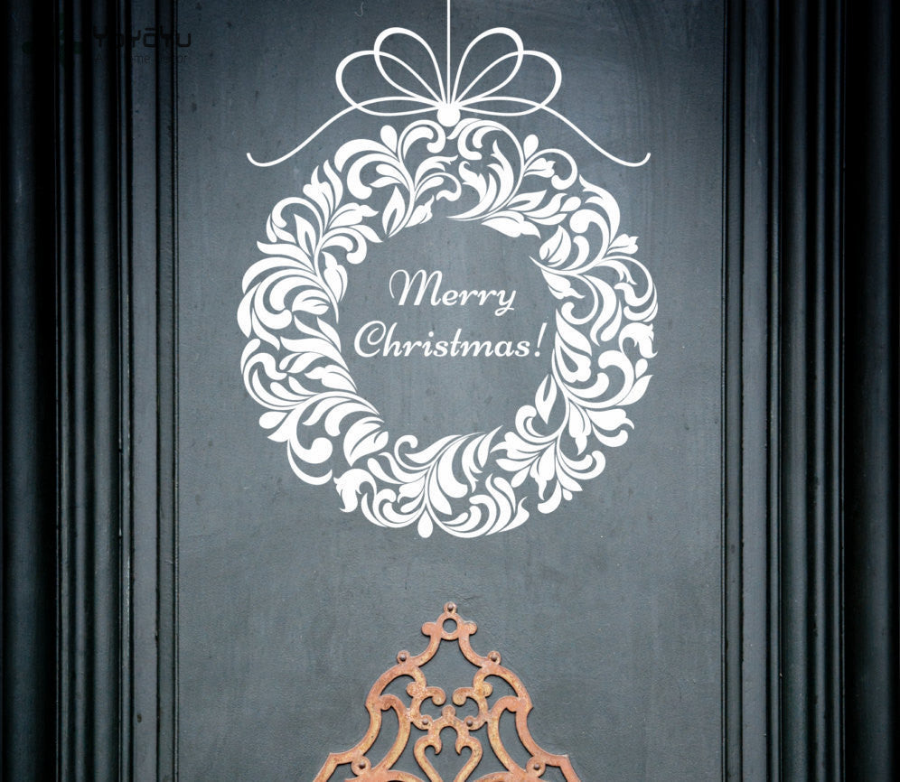 Merry Christmas Door Wall Sticker Ornament - InStyle Walls LLC