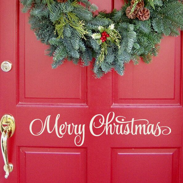 Merry Christmas Sign Entry Way Door Sticker - InStyle Walls LLC