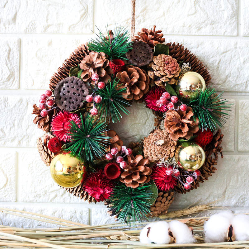 Holiday Rustic Wreath Natural Pinecones Ornament - InStyle Walls LLC