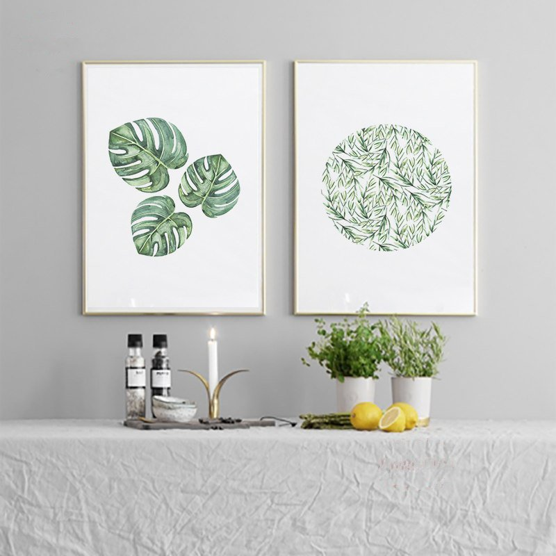 Watercolor Tropical Leaf Canvas - InStyle Walls LLC