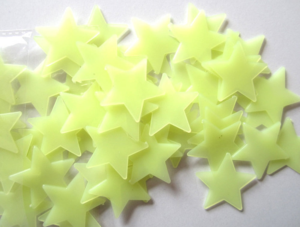 Yellow Glow In The Dark Stars Wall Stickers - InStyle Walls LLC