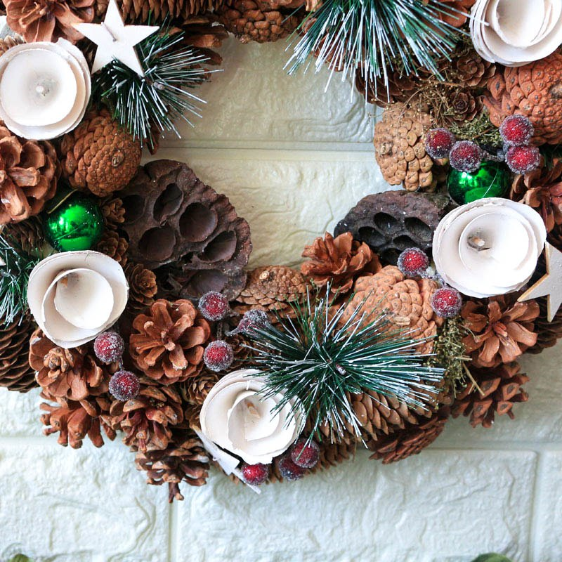 Handmade Christmas Pinecones Spruce Wreath - InStyle Walls LLC