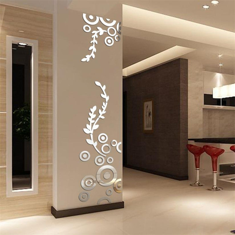 3D Leaf Branch Circles Wall Sticker - InStyle Walls LLC