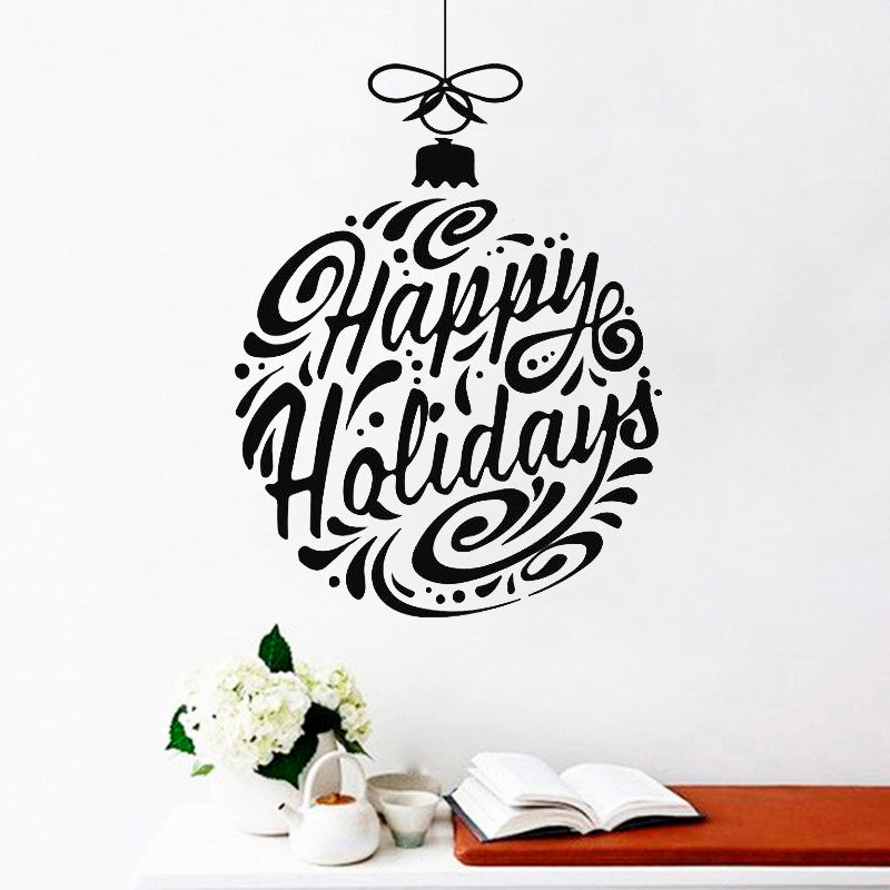 Happy Holidays Ball Decoration Wall Sticker - InStyle Walls LLC