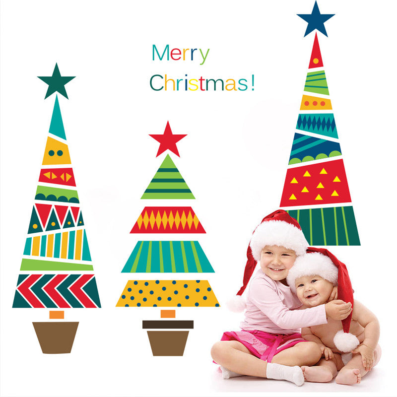 Merry Christmas Tree Star Cartoon Wall Decals - InStyle Walls LLC