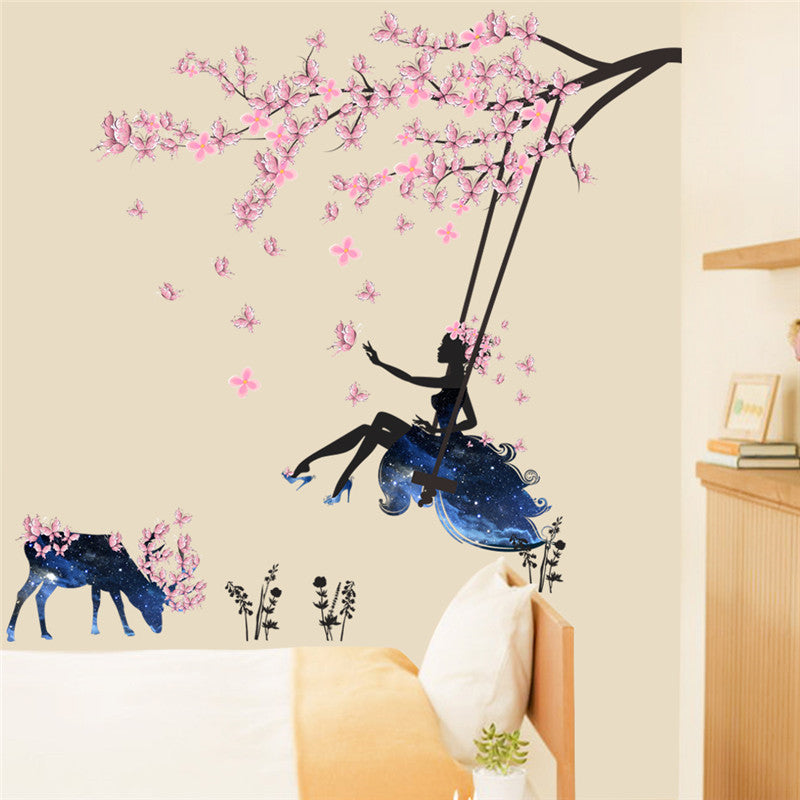 Flower Girl Swing Wall Stickers - InStyle Walls LLC