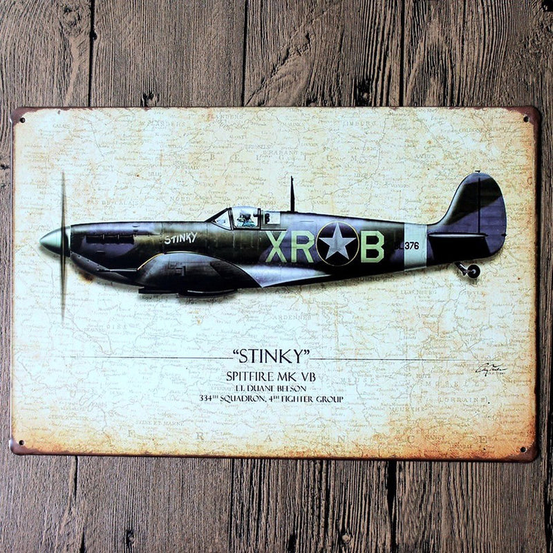 Vintage Military Plane Metal Sign - InStyle Walls LLC