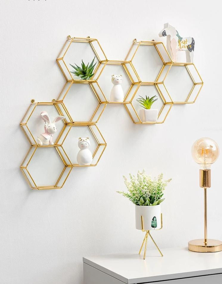 Wall shelf hexagon metal glass - InStyle Walls LLC