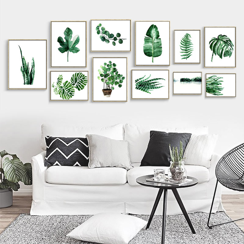 Modern Nordic Green Plants Canvas I - InStyle Walls LLC