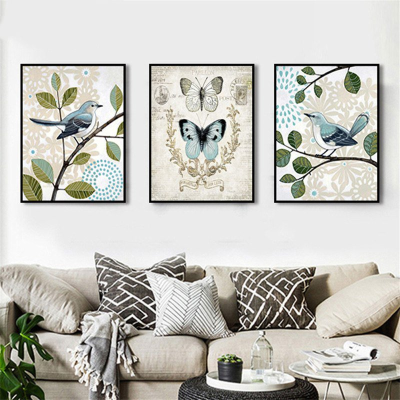 Retro country Flowers Birds Art Print - InStyle Walls LLC