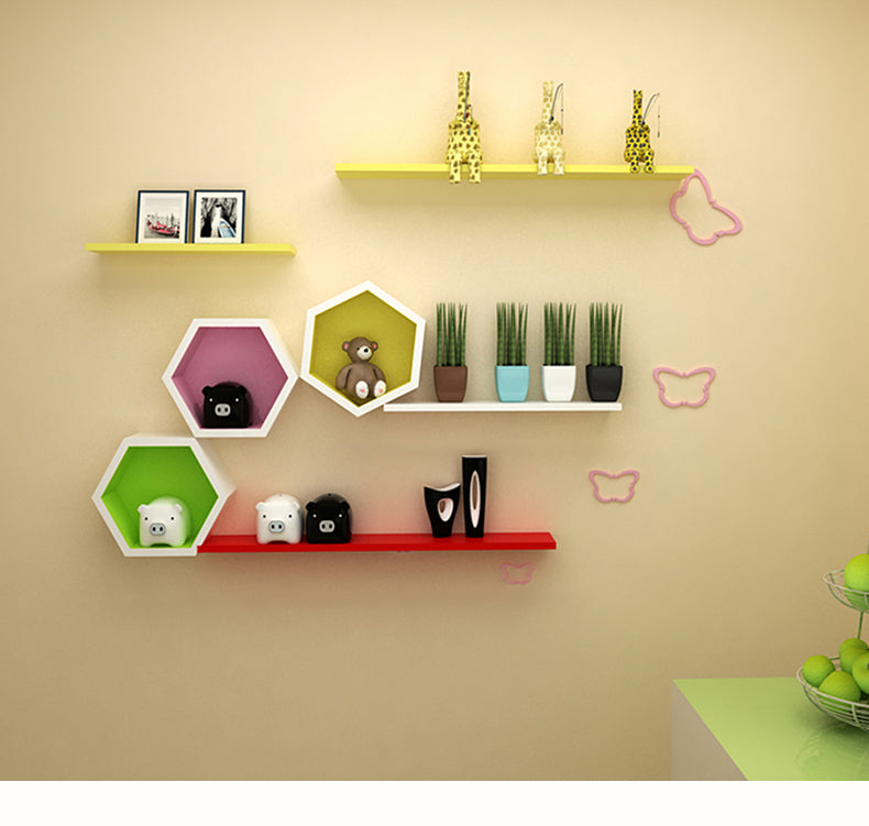 Wooden hexagon storage rack - InStyle Walls LLC