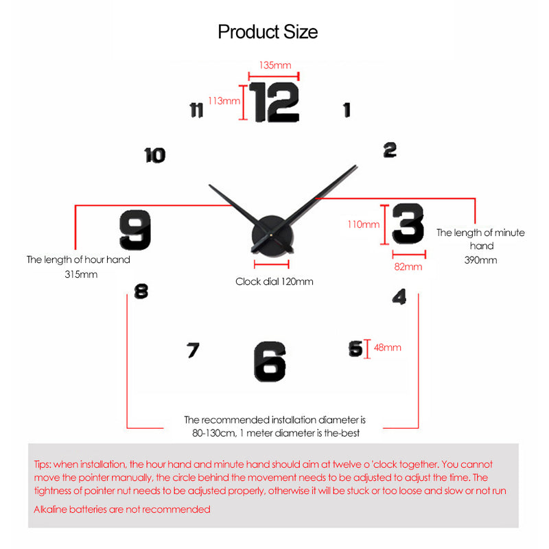 3D Mirror Large Wall Clock - InStyle Walls LLC