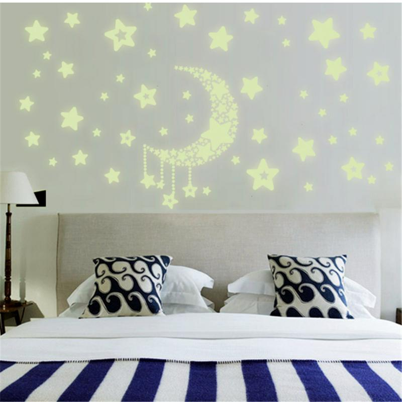 Moon And Stars Glow In The Dark Wall - InStyle Walls LLC