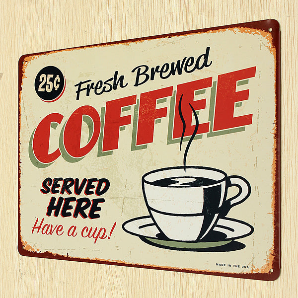 Coffee Vintage Metal Sign - InStyle Walls LLC